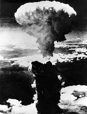 75,000 vaporized corpses rise inside a mushroom cloud over Nagasaki