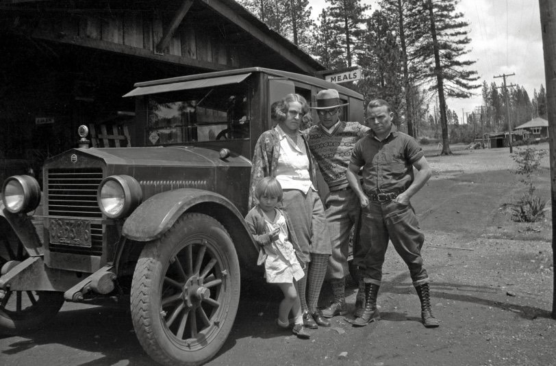 A tough-looking group and their Essex sedan somewhere in Northern California in 1929. From a box of negatives found in a thrift store.