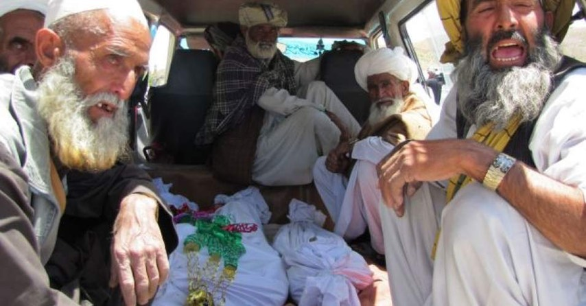 A van carries dead bodies of children killed in a U.S.:NATO airstrike at a village in Logar province, south of Kabul, Afghanistan on June 6, 2012.