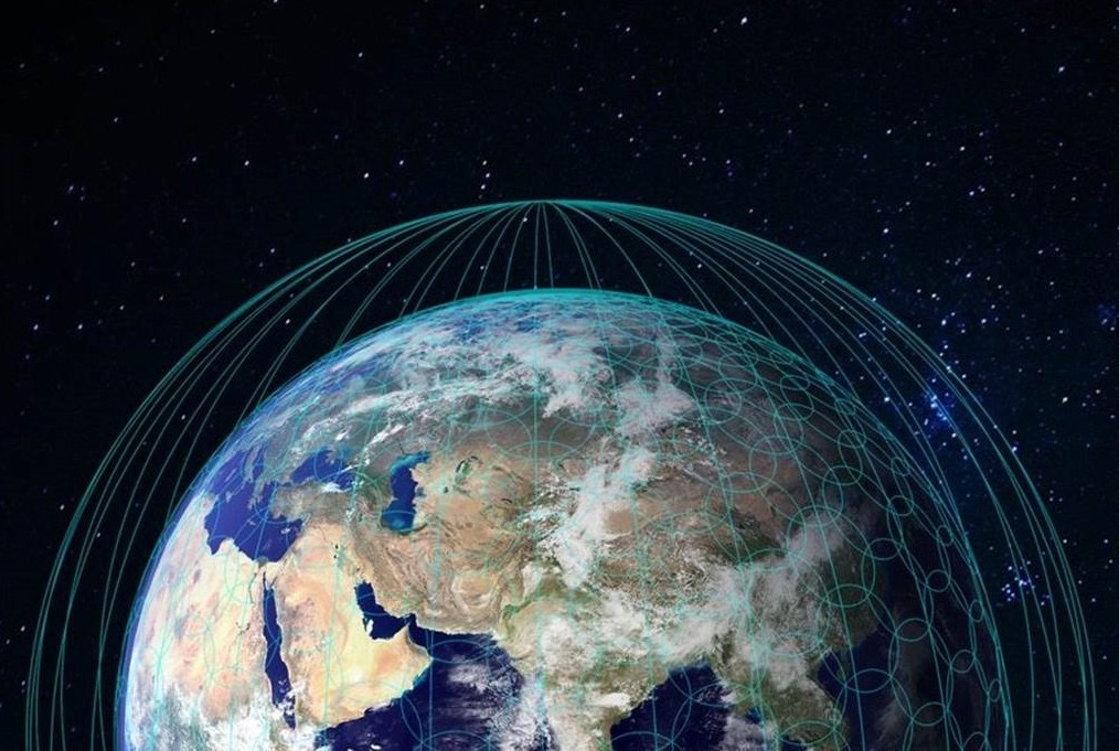 artist's conception shows a constellation of satellites in orbit. -OneWeb