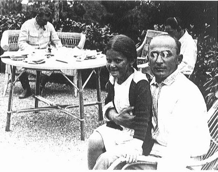 Beria with Stalin in the background and Stalin's daughter Svetlana