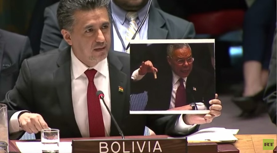 Bolivia delivered an epic blow to the US at the emergency UN Security Council meeting Friday, reminding everyone of the disastrous weapons of mass destruction lie peddled by the US as a pretext to invade Iraq.