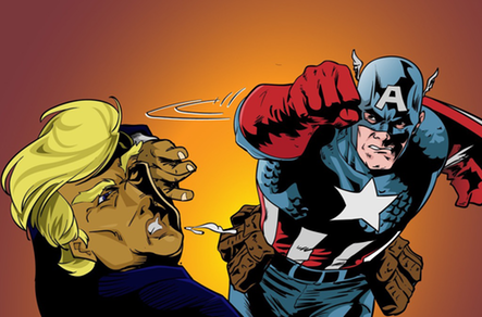 Captain America Punching Donald Trump