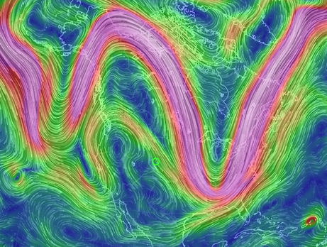 Classic ridge-trough pattern identified by Dr Jennifer Francis and Dr Michael Mann increases likelihood of extreme weather events from polar warming by human-caused climate change.  1500 UTC Sept 6:17 - Earth Nullschoo