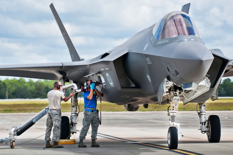 """Cleaning"" F-35 electronics with high-pressure air."
