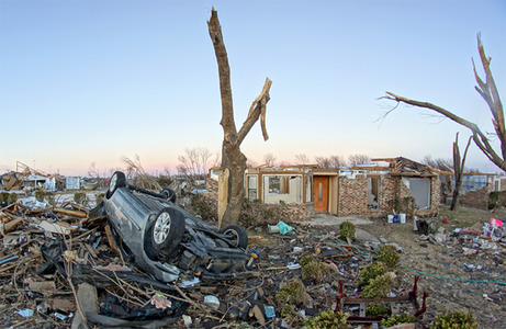 Damage in a residential area as a result of the EF4 Garland:Rowlett, Texas tornado