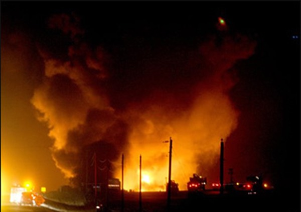 Enbridge pipeline carrying crude oil from Saskatchewan to Chicago exploded, killing two workers trying to make a repair in Clearbrook, Minnesota in 2007