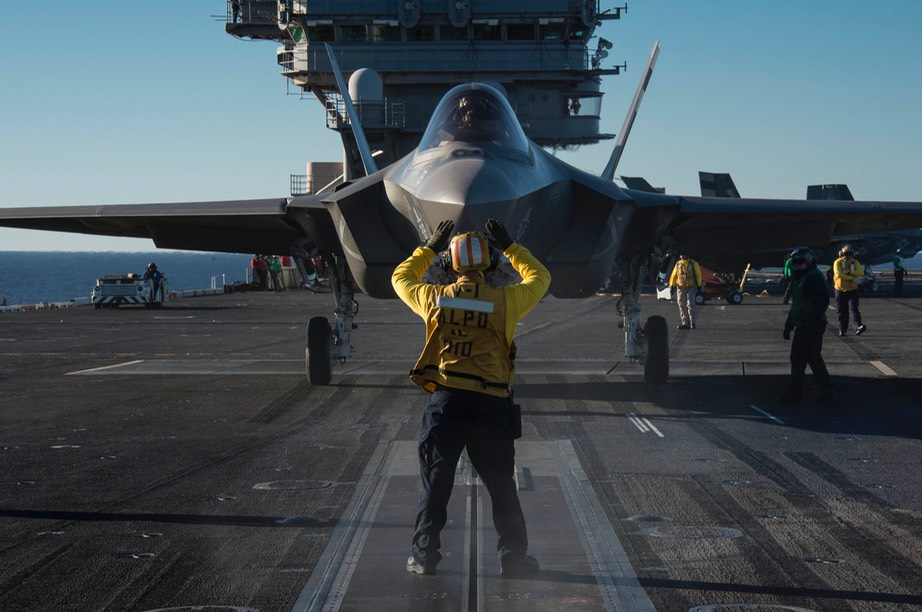 F-35C 1st catapult launch from USS Nimitz