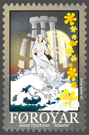 "Faroe Islands postage stamp honoring Janus Djurhuus' ""Atlantis"""
