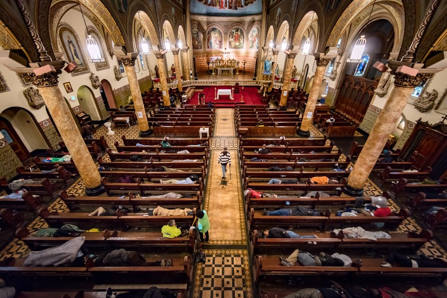 Gubbio project at St Boniface in San Francisco. The church opens its doors every weekday at 6am to allow homeless people to rest until 3pm. Photograph- David Levene for the Guardian