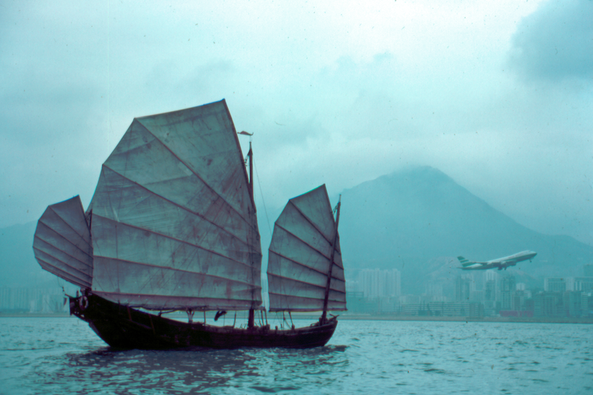 Hong Kong junk, 1st Cathay P{acific cargo flight  -Will Thomas photo
