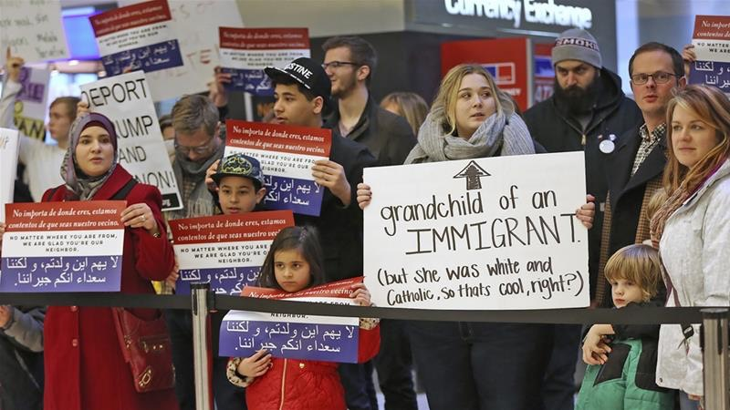 Indianapolis International Airport, during a protest against President Donald Trump's executive order [Kelly Wilkinson:The Indianapolis Star via AP]