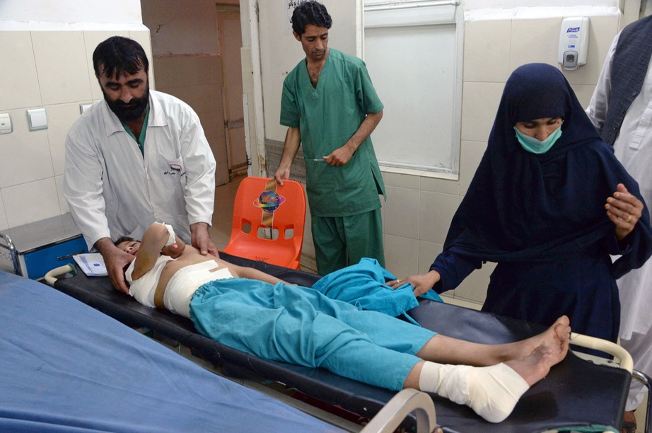 injured Afghan treated following U.S. drone strike that  killed anoter 18 people - Noorullah Shirzada:AFP:Getty Images