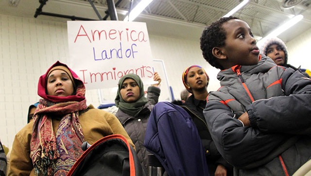 Minnesota residents gather on January 29, 2016 to resist the Muslim ban. - Christopher Zumski Finke