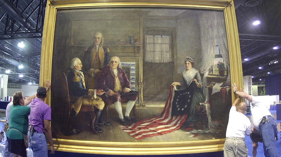 Painting of Philadelphia seamstress Betsy Ross and the Founding Fathers, painted in 1893 by Charles H. Weisgerber © Reuters