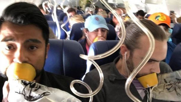 Passenger Marty Martinez captured the moment when oxygen masks were deployed on the flight.  -Marty Martinez ultimate selfie