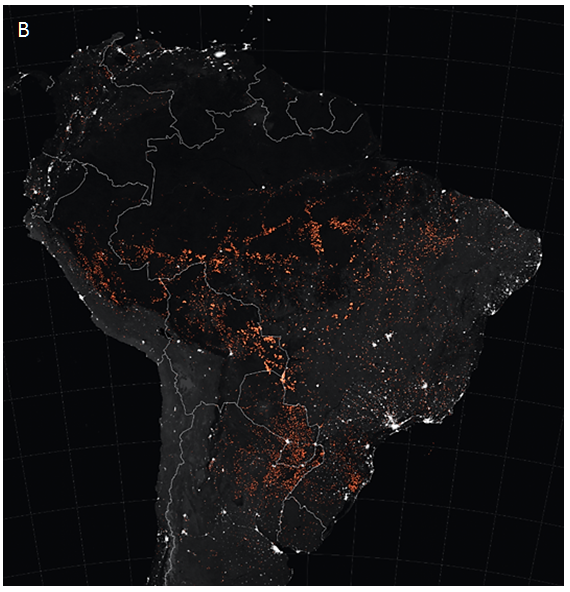 satellite infrared image of South America fires (red dots) during July and August, 2019 -NASA.