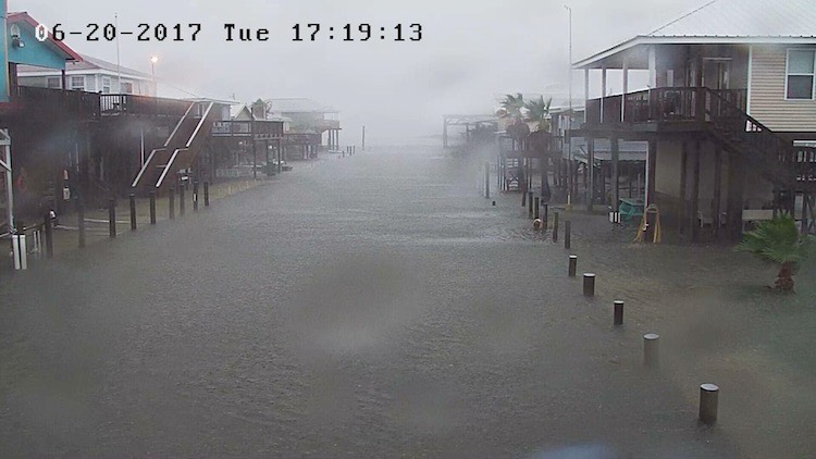 Street in Grand Isle, LA, inundated by floodwaters associated with Tropical Storm Cindy. Image credit- Henry Bennett, via WWLS-TV and NWS/New Orleans.-1