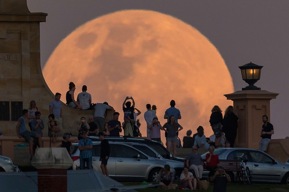 supermoon rises behind the Fremantle War Memorial at Monument Hill on November 14, in Fremantle, Australia -Paul Cane, Getty