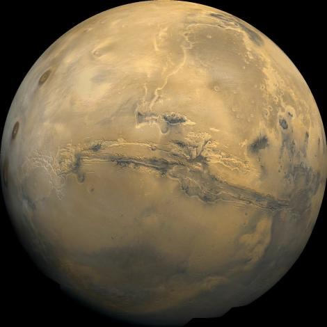 This global mosaic of Mars is centered on  in some places. PHOOTGRAPH BY NASA
