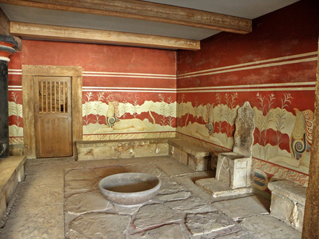 Throne Room with purificaiton bowl, Knossos Palace, 1,500BC