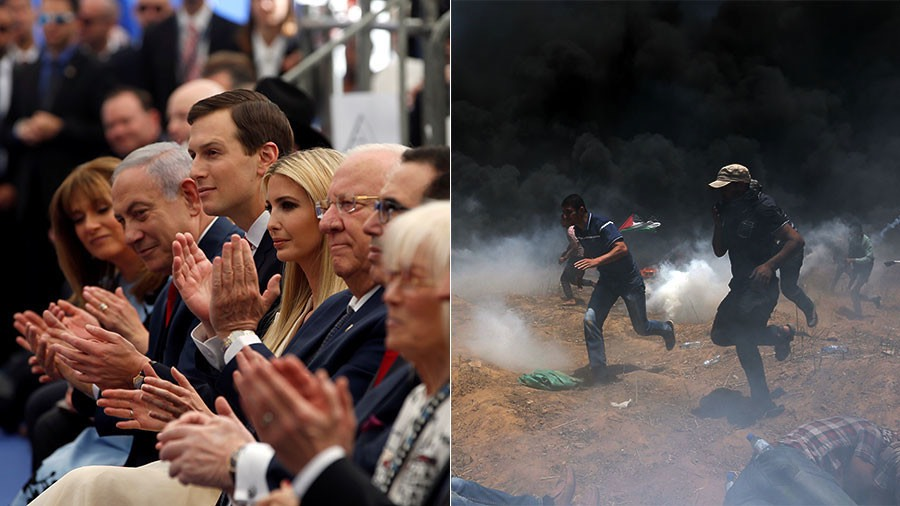 US, Israeli officials at opening of new US embassy in Jerusalem, May 14, 2018. -Ronen Zvulun.  Palestinian demonstrators run from Israeli gunfire, tear gas in southern Gaza  May 14, 2018. -Ibraheem Abu Mustafa : Reuters