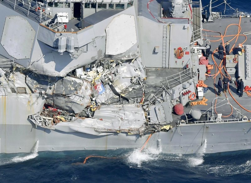 US Navy ship crunched