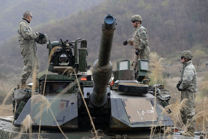 US soldiers conduct April military exercise near border with the North. -Chung Sung-Jun:Getty