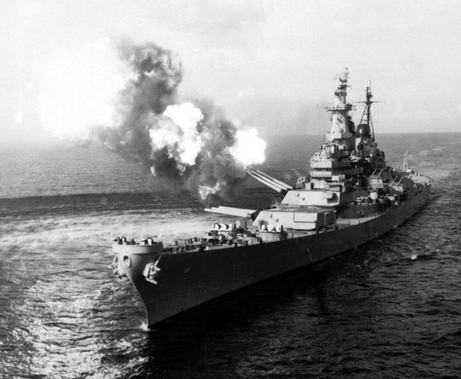 USS Missourt firing on Chongjin, North Korea