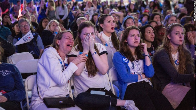 Wellesley College students react as election results are reported. -CNN